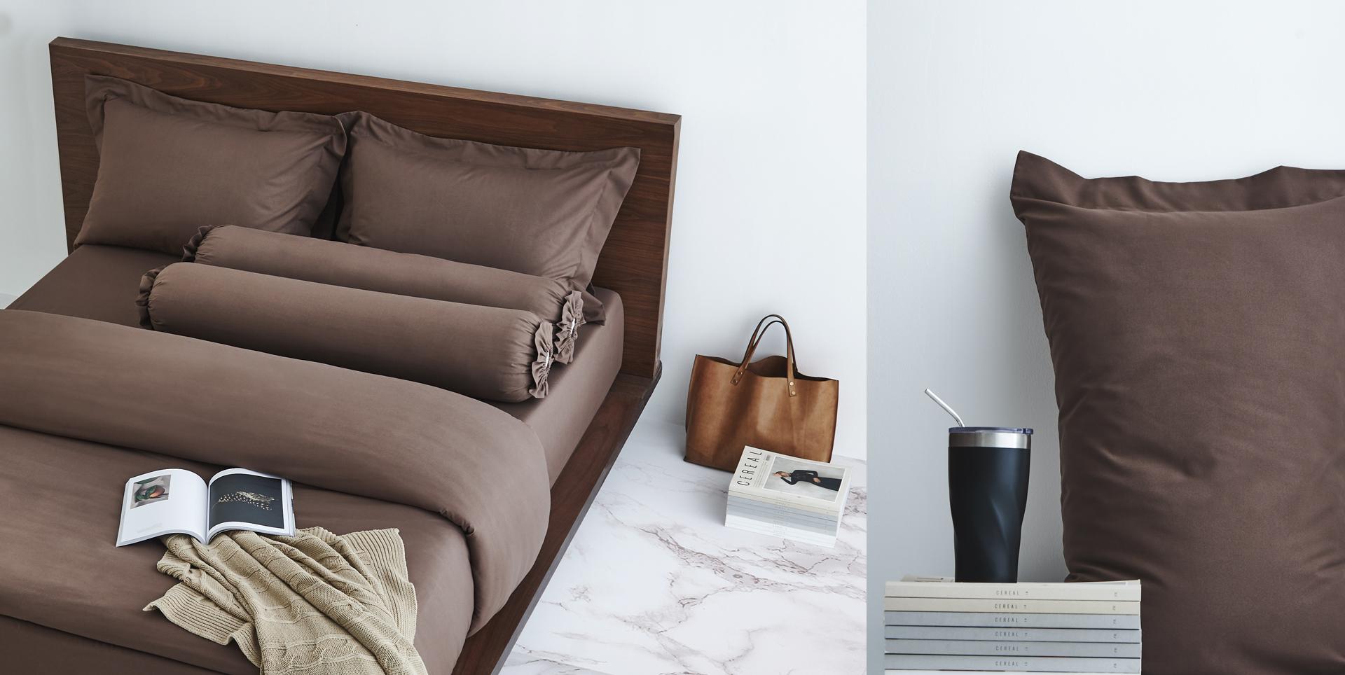 Lotusattitude - chocolate ชุดผ้าปูที่นอนพร้อมผ้านวม